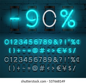 Neon Light Alphabet Vector Font. Glowing text effect. On and Off lamp. Neon Numbers and punctuation marks on Brick wall background. isolated on blue background
