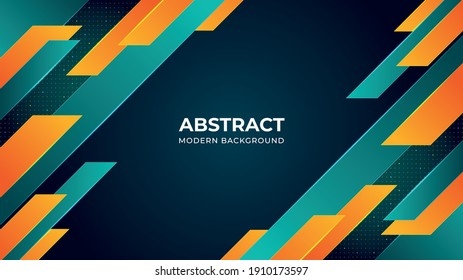 Turquoise and orange colors modern background design