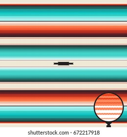 Turquoise, Orange  Navajo White Blanket Stripes Seamless Vector Pattern. Mexican Serape Rug Texture with Threads. Native American Textile. Ethnic Boho Background. Pattern Tile Swatch Included.