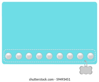 Turquoise and Pearl Dog Collar Styled Name Tag