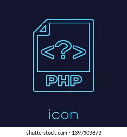 Turquoise PHP file document icon. Download php button line icon isolated on blue background. PHP file symbol. Vector Illustration