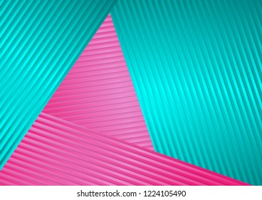 Turquoise and pink abstract corporate striped background. Tech vector design