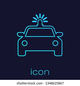 Turquoise Police car and police flasher line icon isolated on blue background. Emergency flashing siren. Vector Illustration