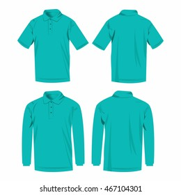 Turquoise polo shirt and polo with long sleeve isolated vector set