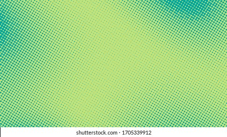 Turquoise pop art background with halftone polka dots in retro comic style, vector illustration template eps10