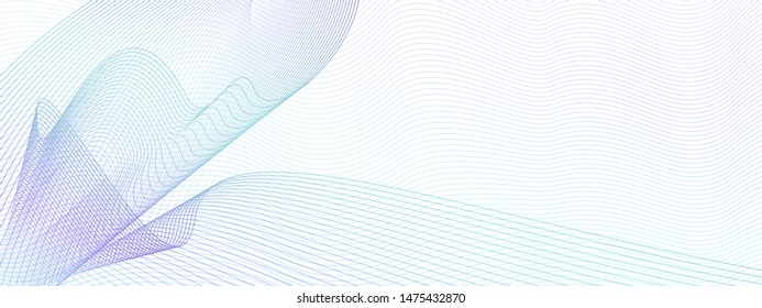 Turquoise, purple draped net, wavy subtle curves. Modern abstract vector cheque, ticket, banner, certificate template. Colored watermark pattern. Guilloche art line design. White background. EPS10