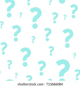 Turquoise question marks seamless pattern. Vector background