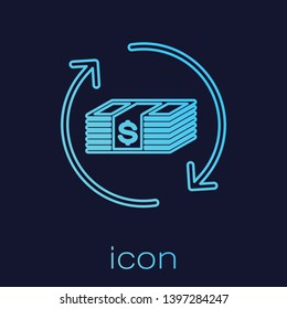Turquoise Refund money line icon isolated on blue background. Financial services, cash back concept, money refund, return on investment, savings account. Vector Illustration