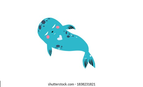 turquoise seal on white background vector logo icon