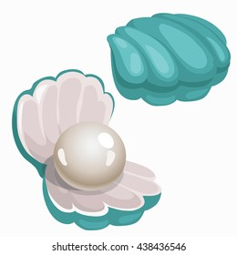 Turquoise shell with pearl isolated on white background. Precious stones of natural origin. Vector cartoon close-up illustration.