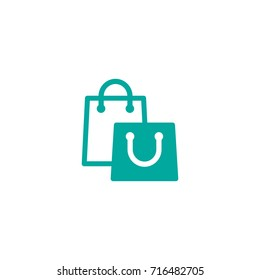 turquoise silhouette of shopping paper bag. flat icon isolated on white.  vector illustration. Stylish package for purchase. simple pictogram