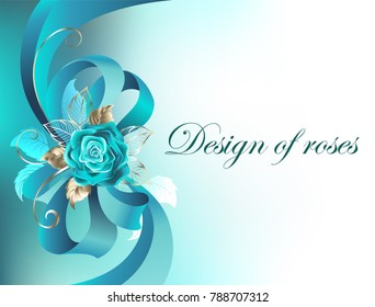 Turquoise silk bow with rose and gold leaves on white background.