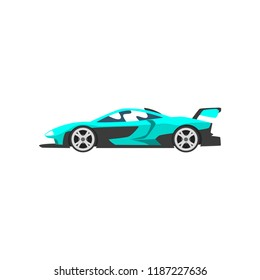 Turquoise sports racing car, supercar, side view vector Illustration on a white background