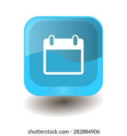 Turquoise square button with white calendar sign, vector design for website