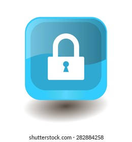 Turquoise square button with white padlock sign, vector design for website