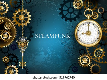 Turquoise, textured, steampunk background with brass and gold gears, silver key and clock.