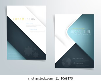 Turquoise triangle geometric brochure vector background header flyer design overlap layer on white and dark element with space for text design