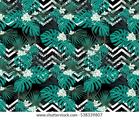 Turquoise Tropical Leaves White Flowers On Stock Vector Royalty