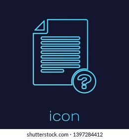 Turquoise Unknown document line icon isolated on blue background. File with Question mark. Hold report, service and global search sign. Vector Illustration