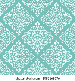 Turquoise vintage vector seamless pattern, wallpaper. Elegant classic texture. Luxury ornament. Royal, Victorian, Baroque elements. Great for fabric and textile, wallpaper, or any desired idea.