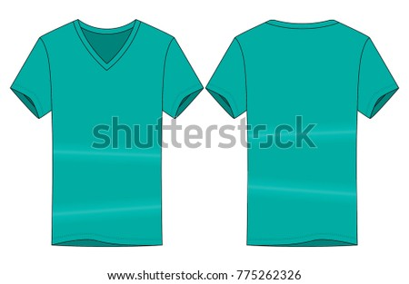 e25264a6123 Turquoise V Neck Shirt Vector Template Front Stock Vector (Royalty ...