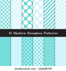 Turquoise and White Jumbo Polka Dots, Gingham and Stripes Seamless Patterns. Icy White Christmas Background. Pattern Swatches included and made with Global Colors.