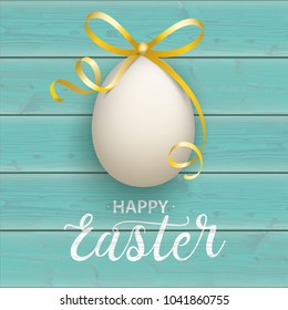 Turquoise wooden background with easter egg and text happy easter.  Eps 10 vector file.
