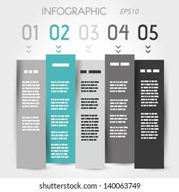 turquoise zig zag column five options. infographic concept.