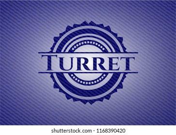 Turret badge with denim background
