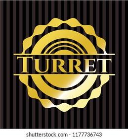Turret golden badge or emblem