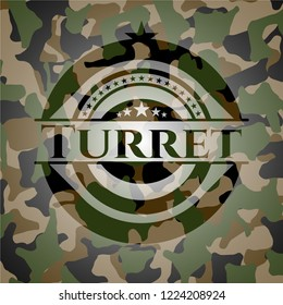 Turret written on a camo texture
