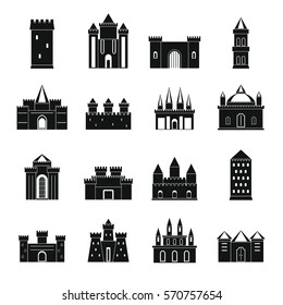 Turrets and castles icons set. Simple illustration of 16 turrets and castles vector icons logo isolated on white background