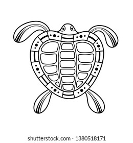Turtle. Aboriginal art style. Tatoo. Black and white logo. Vector monochrome illustration isolated on white background.