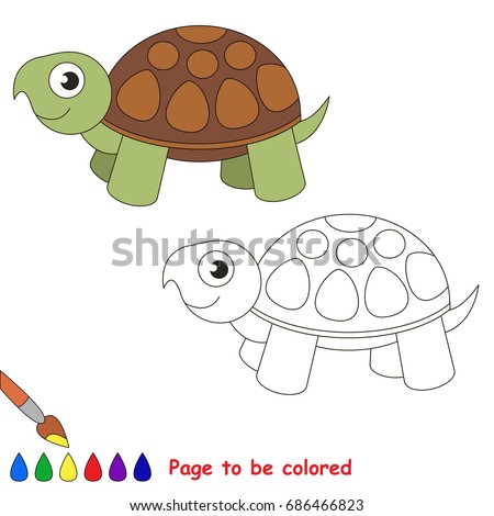 Turtle Be Colored Coloring Book Preschool Stock Vector (Royalty Free ...