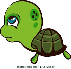 Turtle with big head, illustration, vector on white background