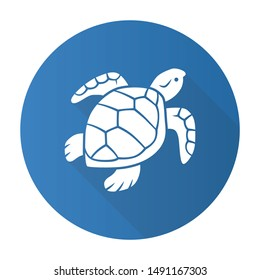 Turtle blue flat design long shadow glyph icon. Slow moving reptile with scaly shell. Underwater aquatic animal. Swimming ocean creature. Oceanography and zoology. Vector silhouette illustration