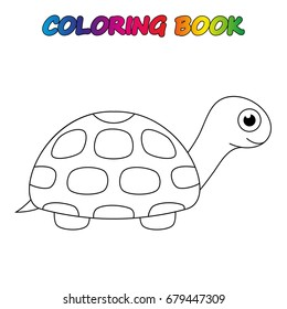 turtle - coloring book.  Coloring  page to educate preschool kids .  Game for preschool kids.  Vector cartoon  illustration, worksheet