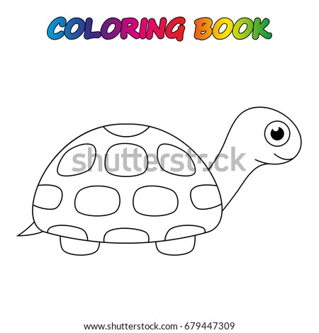 Turtle Coloring Book Coloring Page Educate Stock Vector (Royalty ...
