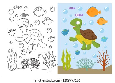 Turtle coloring pages. Cartoon swimming sea animals underwater. Vector illustration for kids coloring book