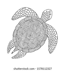 Turtle. Doodle coloring page. Stock vector illustration.