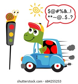 turtle driving car with snail on traffic light, vector cartoon illustration