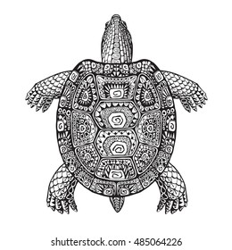 Turtle ethnic graphic style with decorative patterns. Vector illustration
