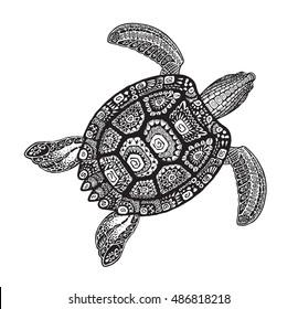 Turtle ethnic tribal style decorative ornament. Vector illustration
