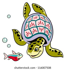 turtle and fish,cartoon tortoise,sea animals,vector image isolated on white background,children illustration,picture for little kids