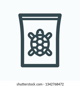 Turtle food outline icon, pack of turtle food isolated vector icon