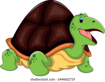 Turtle Funny Cartoon Vector Illustration