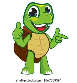 Turtle green cartoon mascot in vector 5