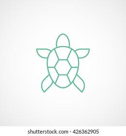 Turtle Green Line Icon On White Background