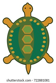 Turtle with green shell inspired by tribal motifs