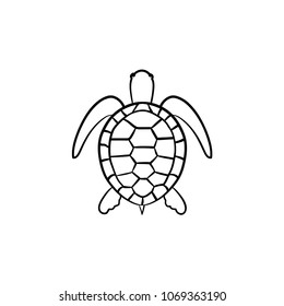 Turtle hand drawn outline doodle icon. Vector sketch illustration of turtle for print, web, mobile and infographics isolated on white background.
